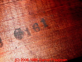 Photograph of lumber stencil marks on a Sears catalog house