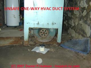 Photograph of one-way return air on basement AHU also may draw flue gases from nearby gas fired equipment