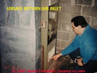 Unsafe return air input at furnace © D Friedman at InspectApedia.com