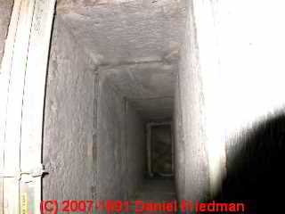 Photo of dirty exposed fiberglass duct liner (C) Daniel Friedman