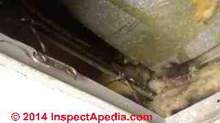 HVAC ducts lost insulation (C) InspectApedia