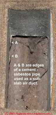 Photograph of transite cement asbestos heating duct