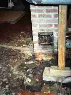 Photograph of a chimney cleanout door (missing)