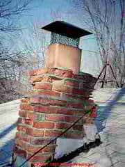 Photograph of a damaged masonry chimney.