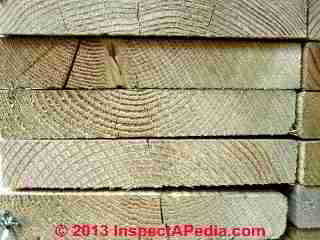 Lumber end cuts shows how boards were sawn and bark vs pith side (C) Daniel Friedman