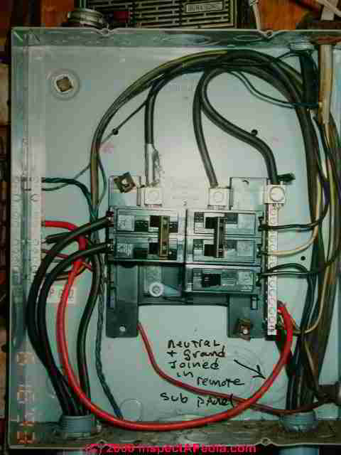 main electrical panel disconnect switch installation defects unsafe sub panel bonded ground and neutral c daniel friedman