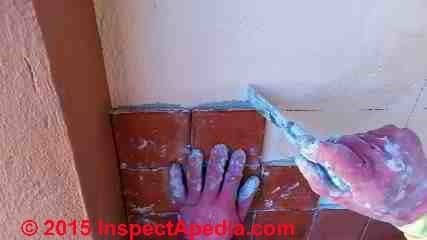 Install ceramic tile on a wall - procedure (C) Daniel Friedman