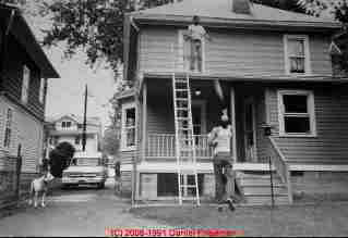 Photo of the author, with Art Cady and Net, setting up a house painting job, Poughkeepsie NY ca 1988