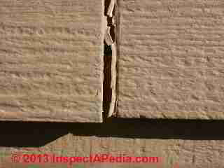 Gaps at butt joints of HardiePlank siding on an 8-year-old home  (C) Daniel Friedman