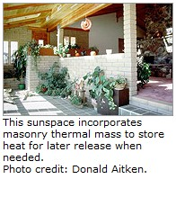Isolated solar gain from a sunspace - US DOE, Donald Aitken