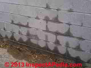 Masonry wall soaked by sprinkler system on other side (C) InspectApedia