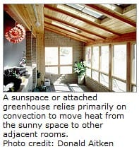 A photo of the interior of a sunspace constructed on the side of a house with sunlight entering through several windows and skylights - US DOE Donald Aitken.