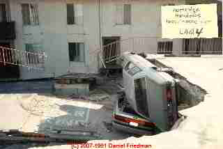 Photograph of parking lot collapse at Northridge Meadows Earthquake, Los Angeles 2000  © Daniel Friedman