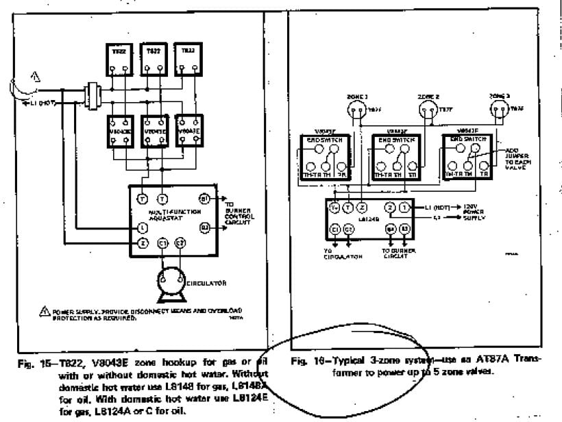 wiring diagrams for Honeywell Zone Valves V8043E & T822 & T822