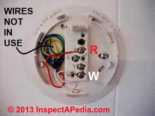 Thermostat wiring reference chart - simplest case two-wire thermostat (C) Daniel Friedman