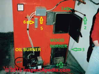 Wood oil combination fuel boiler controls combustion air when burning wood (C) Daniel Friedman