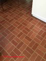 Red brick pattern flooring without asbestos (C) InspectApedia PC