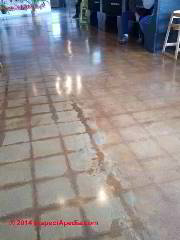 Concrete floor with stains where asphalt asbestos or vinyl asbestos floor tiles and their adhesive mastic were removed (C) InspectApedia