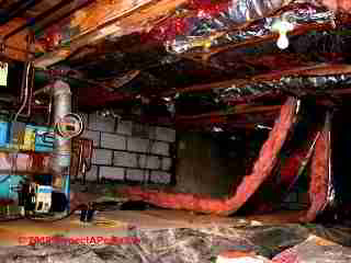 Horrible crawl space insulation and moisture (C) Daniel Friedman