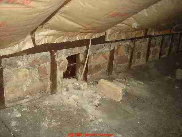 Visible in the attic, Brick Wall Lining Served as Insulation, Wind Barrier, Fire Blocking