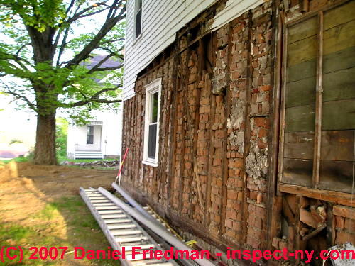 Brick Wall Lining Served as Insulation, Wind Barrier, Fire Blocking in the Joe and Beth Weisman house in Montgomery NY