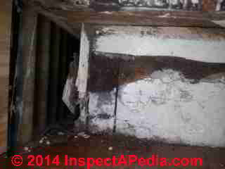 Apartment mold study photos include signs of leak history (C) InspectApedia DC