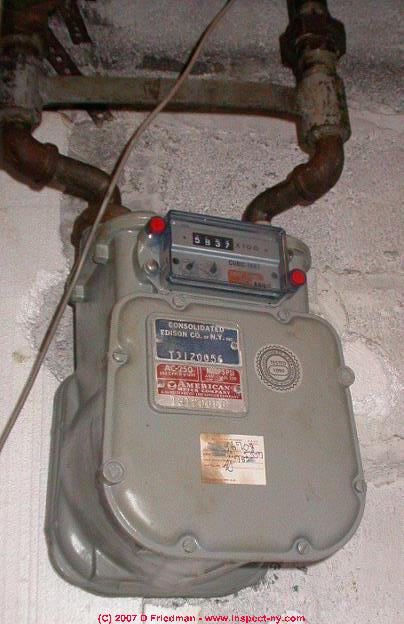 of a natural gas or piped in gas meter in a basement in new york