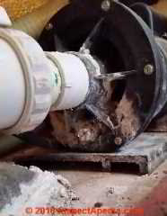 Mineral deposits show air and water leaks at a pump installed in this Minnesota home (C) Daniel Friedman