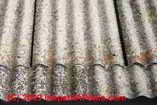 Corrugated asbestos cement roofing as installed and aged (C) InspectApedia Daniel Friedman
