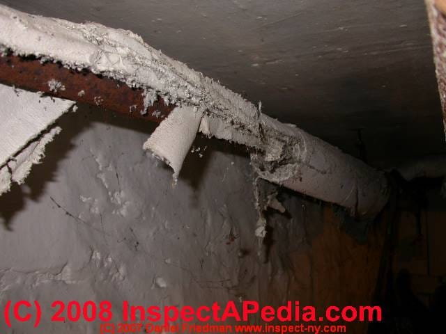 Asbestos pipe insulation in bad shape c daniel friedman