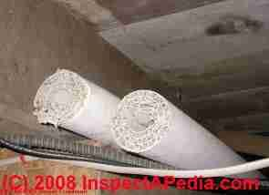 Photograph of asbestos heating pipe insulation abandoned in a building