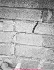 Photograph of thermal expansion of a brick foundation wall.