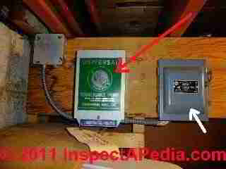 Well pump relay switch and power control © D Friedman at InspectApedia.com