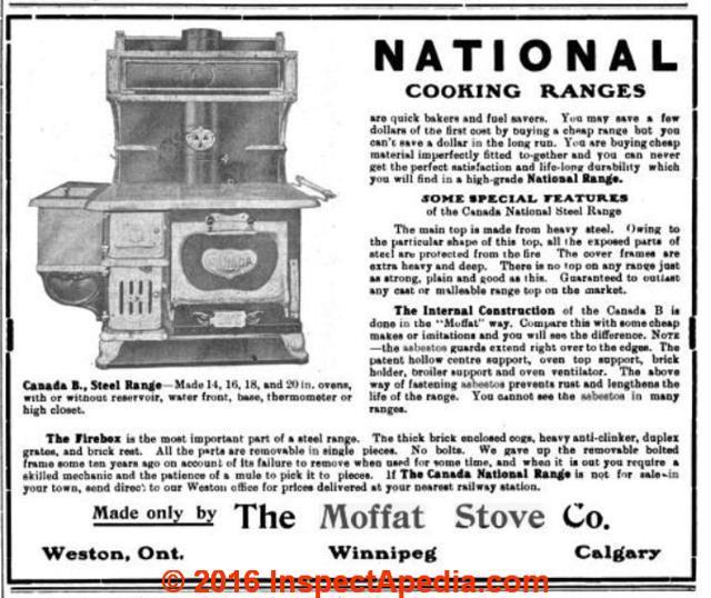 moffat electric range repair history components parts moffat stove 1909 w asbestos c inspectapedia