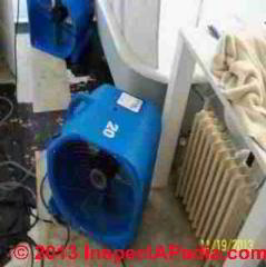Flooded building dry-out procedure questions (C) InspectAPedia.com JN
