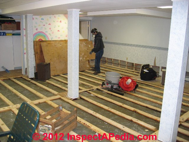 how to clean up a flooded building or wet basement rh inspectapedia com Flooded Finished Basement Clean Up Water in Basement