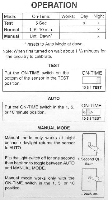 Adjustment Instructions For A Motion Sensor Light At Inspectapedia Com