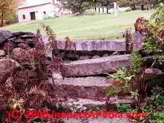 Masonry stair trip hazard at Justin Morrill Smith historic home Strafford Vermont (C) Daniel Friedman