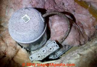 Recessed light wiring rust in a Florida Home (C) InspectApedia CB