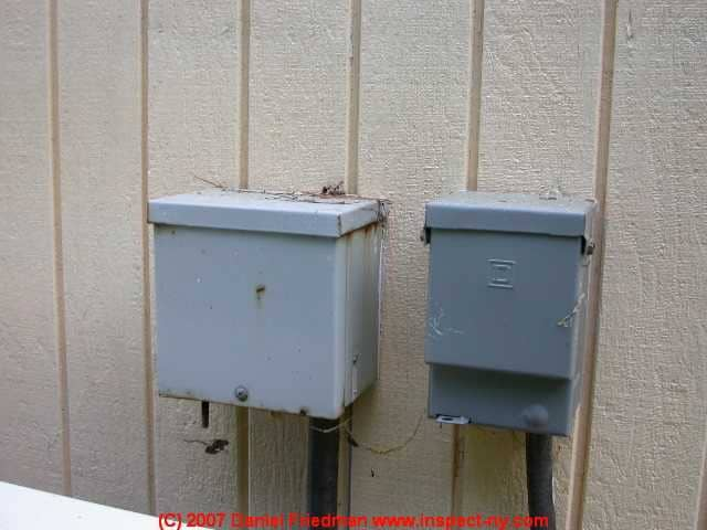 list of outside a/c or heat pump service switches, fuses, circuit breakers