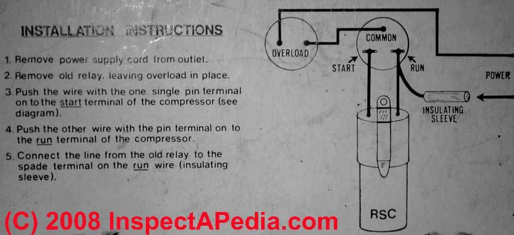 electric motor starting capacitor wiring installation rh inspectapedia com run capacitor wiring diagram air conditioner run capacitor wiring diagram air conditioner