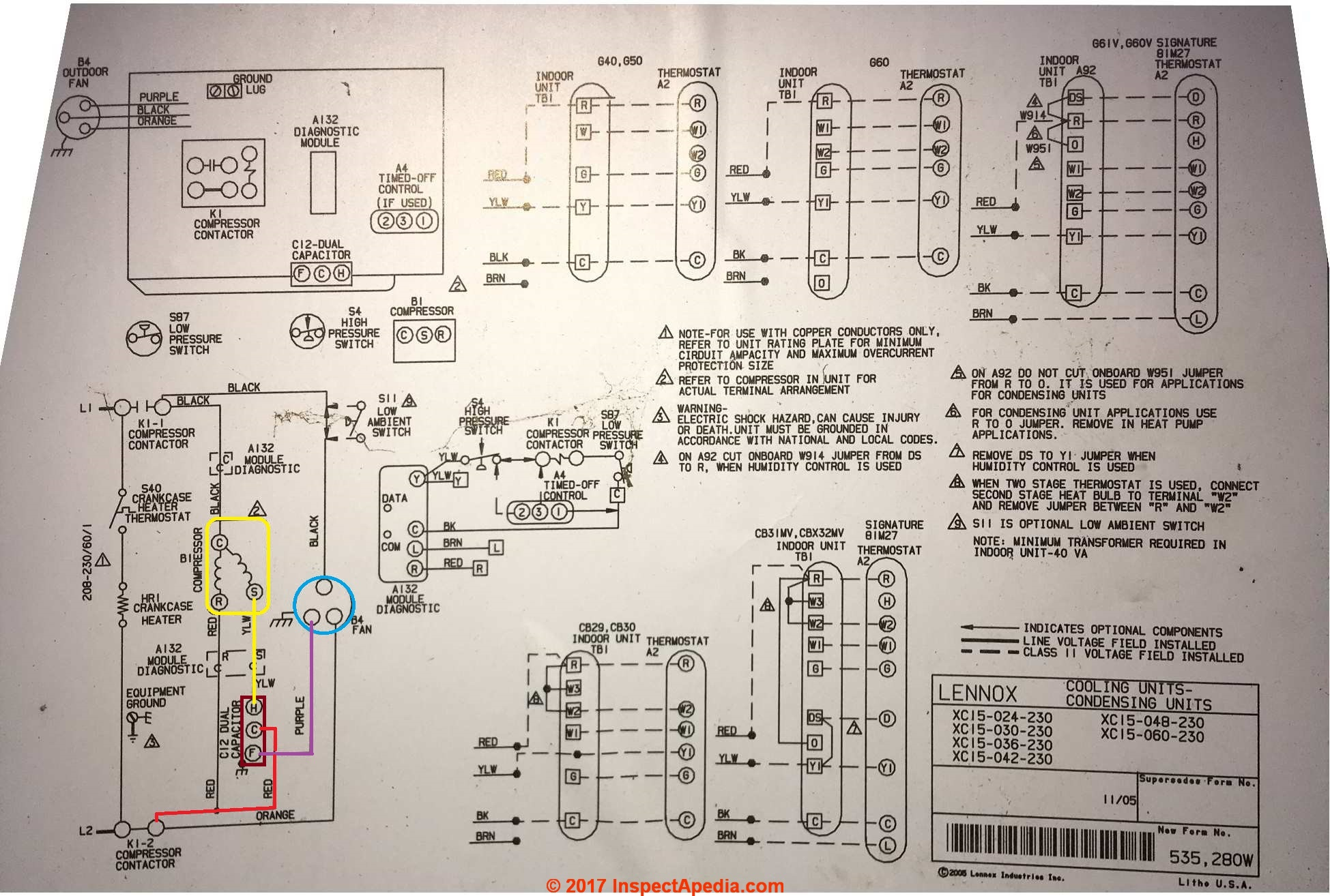 lennox xc15 condenser unit wiring diagram (c) inspectapedia com showing  capacitor connections