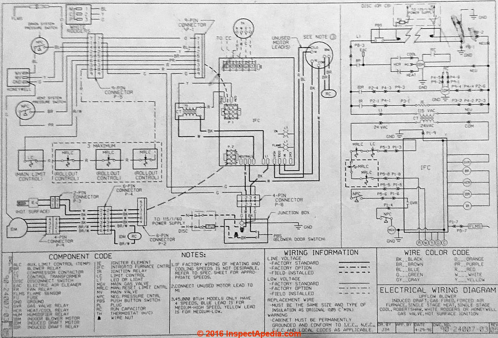 Rheem AHU wiring diagram typical at InspectApedia.com