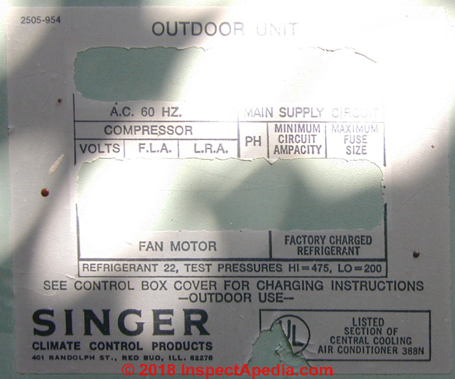 Air conditioners air conditioner data air conditioning heat pump singer air conditioner data tag decode fandeluxe Gallery