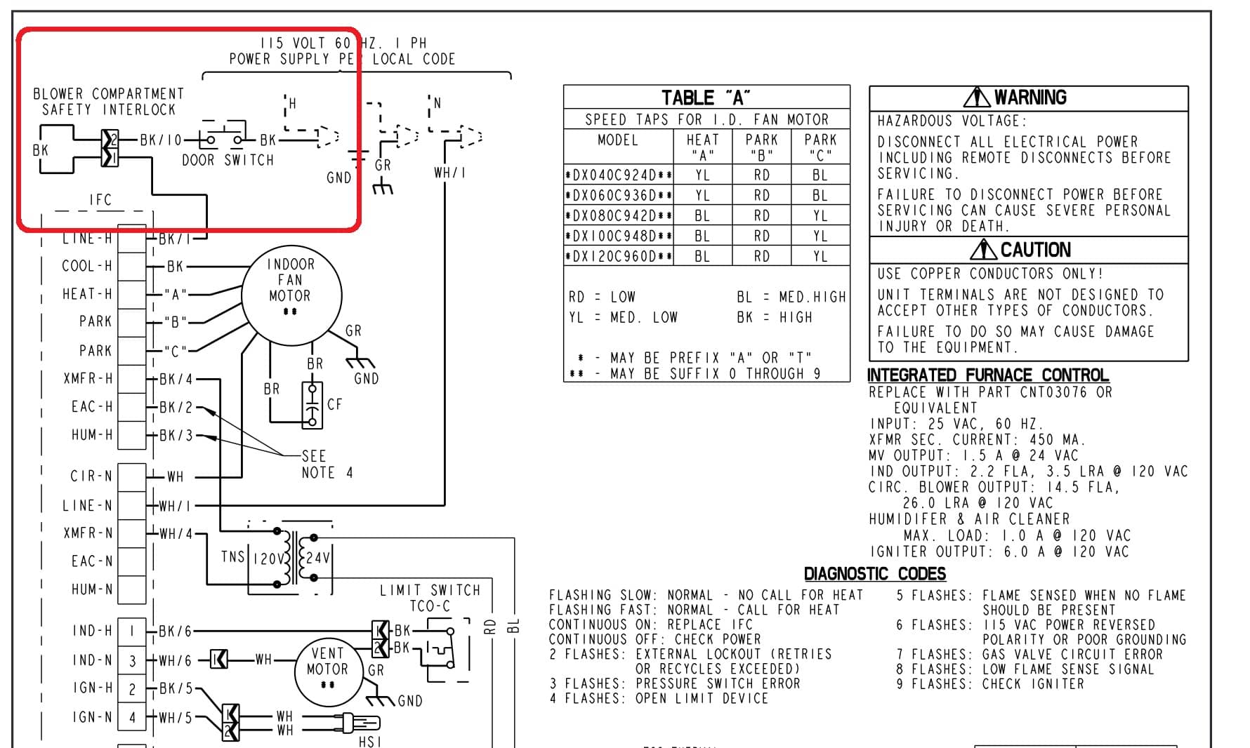 Trane_Furnace_Wiring_PARTIAL_023 blower door safety interlock switch installation, wiring, repair carrier furnace wiring diagram at crackthecode.co
