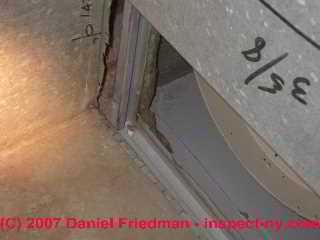 Photograph of surprise leak in basement AHU also may draw flue gases from nearby gas fired equipment