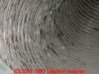 Photo of normal gray dirt and debris inside of flex duct (C) Daniel Friedman