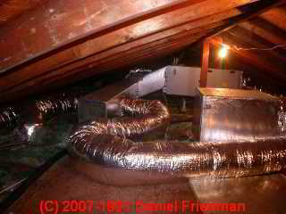 Photo of snaky fiberglass covered flex duct (C) Daniel Friedman