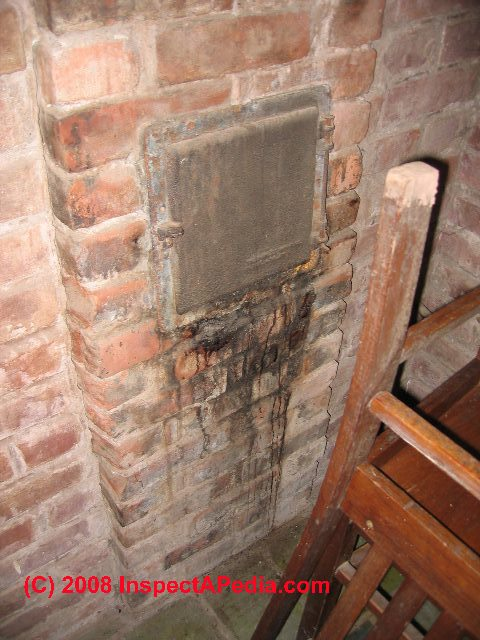 Chimnney cleanouts: A guide to chimney cleanout doors and access ports What to look for at the chimney cleanout door to detect problems with a chimney flue interior Masonry fragments in the chimney cleanout can indicate flue damage Specification of requir