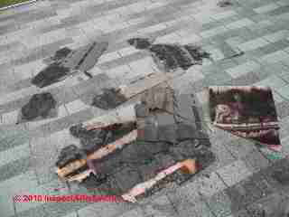 Thermal splitting of fiberglass-based asphalt roof shingles was particularly common for product manufactured in the early 1990's.